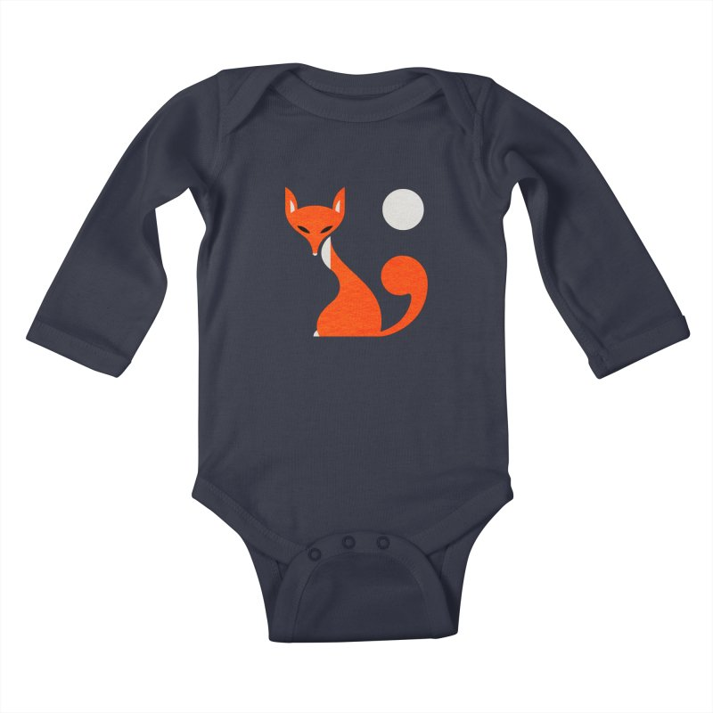 Fox and Moon Kids Baby Longsleeve Bodysuit by scottpartridge's Artist Shop