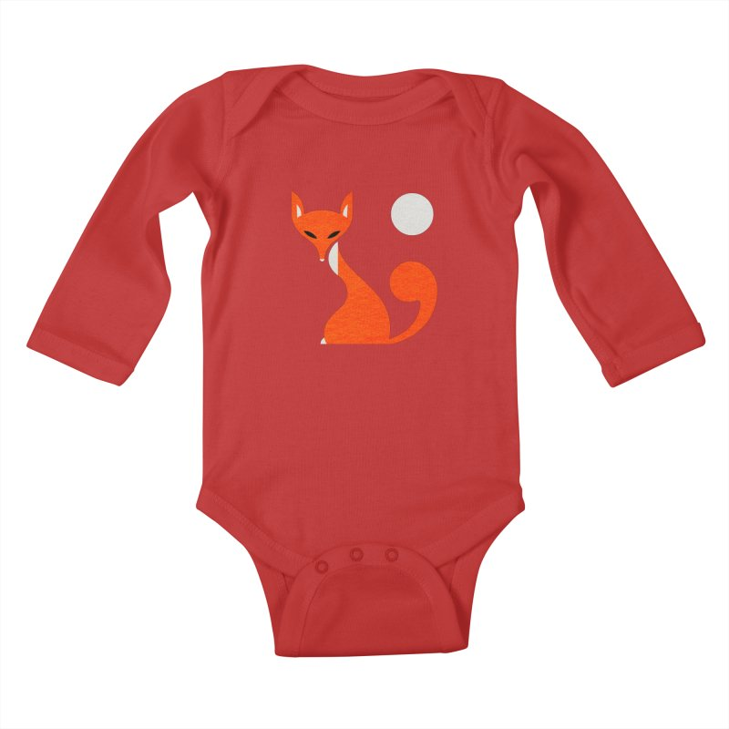 Fox and Moon Kids Baby Longsleeve Bodysuit by scottpartridge's Artist Shop
