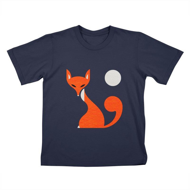 Fox and Moon Kids T-Shirt by scottpartridge's Artist Shop