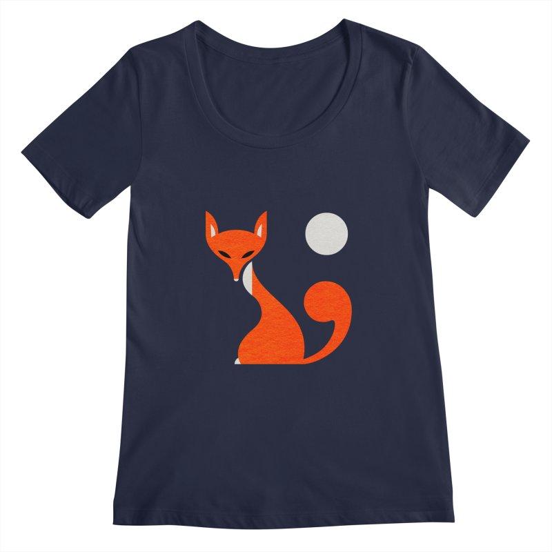 Fox and Moon Women's Scoopneck by scottpartridge's Artist Shop