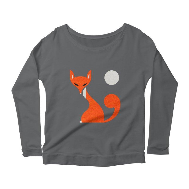 Fox and Moon Women's Longsleeve Scoopneck  by scottpartridge's Artist Shop
