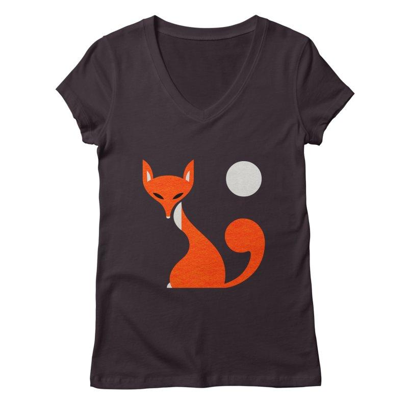 Fox and Moon Women's V-Neck by scottpartridge's Artist Shop