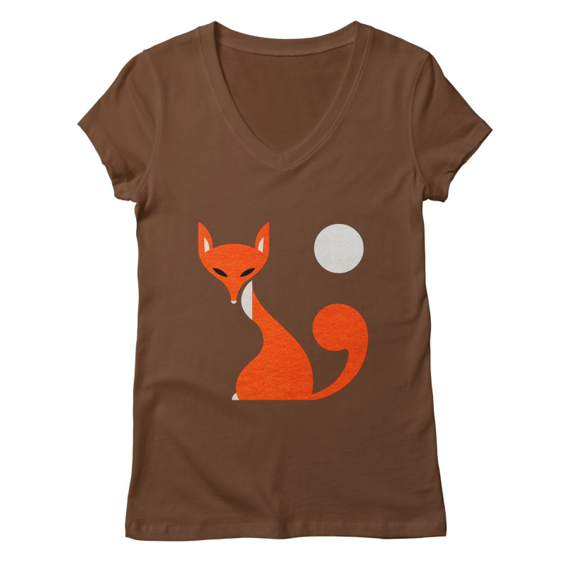 Fox and Moon Women's V-Neck by scottpartridge's Artist Shop