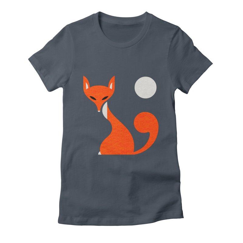 Fox and Moon Women's T-Shirt by scottpartridge's Artist Shop