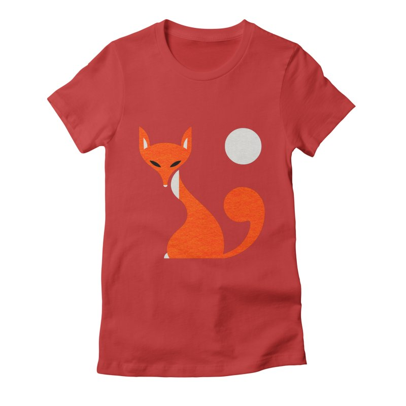 Fox and Moon Women's Fitted T-Shirt by scottpartridge's Artist Shop