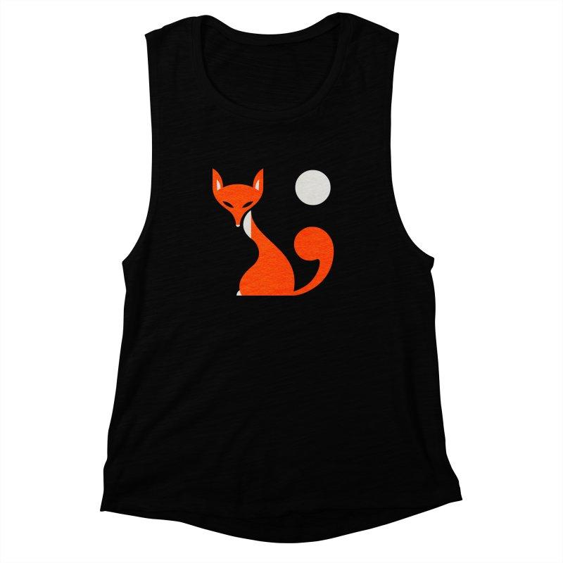 Fox and Moon Women's Muscle Tank by scottpartridge's Artist Shop