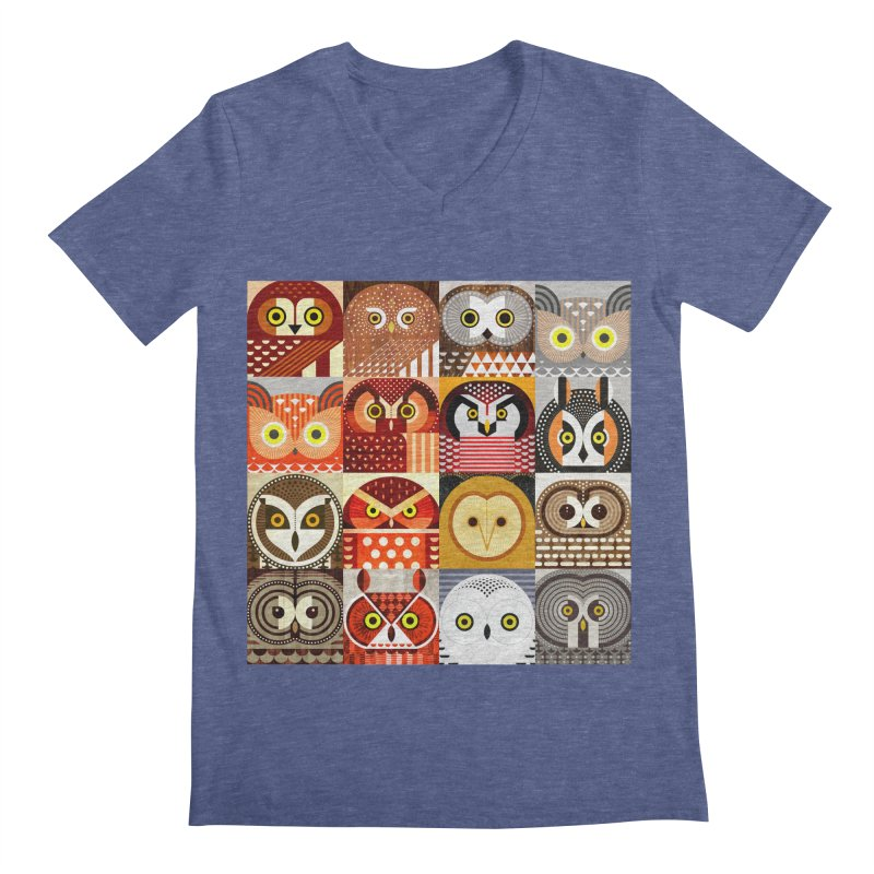 North American Owls Men's Regular V-Neck by scottpartridge's Artist Shop
