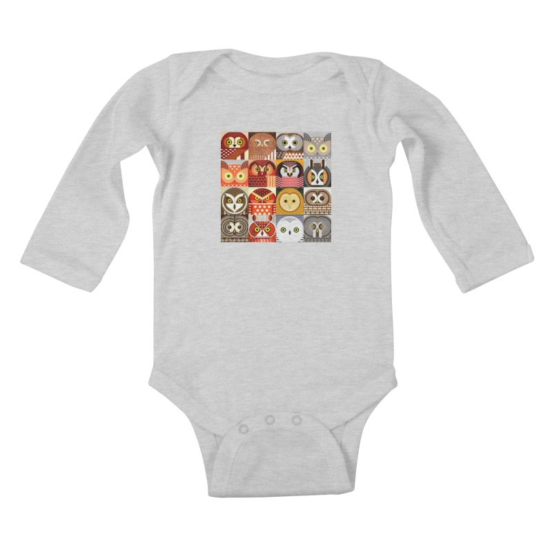 North American Owls Kids Baby Longsleeve Bodysuit by scottpartridge's Artist Shop