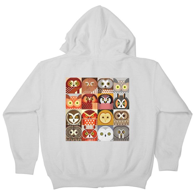 North American Owls Kids Zip-Up Hoody by scottpartridge's Artist Shop