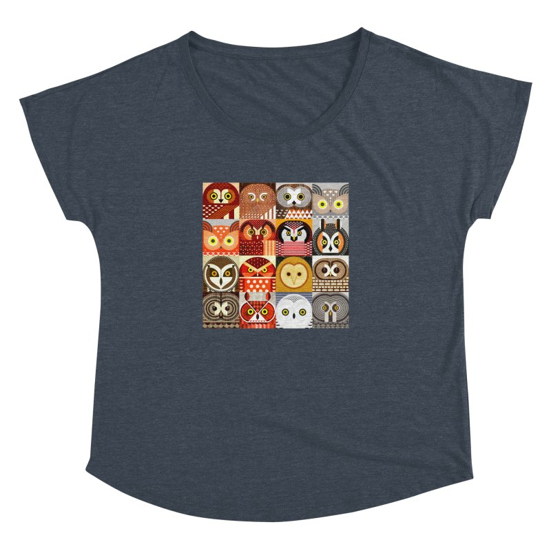 North American Owls Women's Dolman Scoop Neck by scottpartridge's Artist Shop