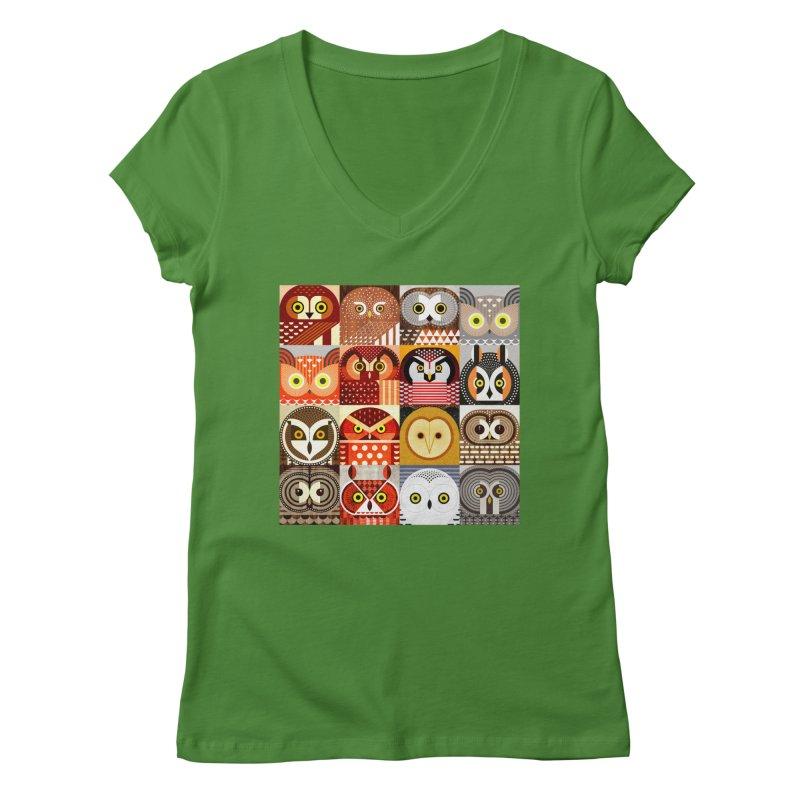 North American Owls Women's Regular V-Neck by scottpartridge's Artist Shop