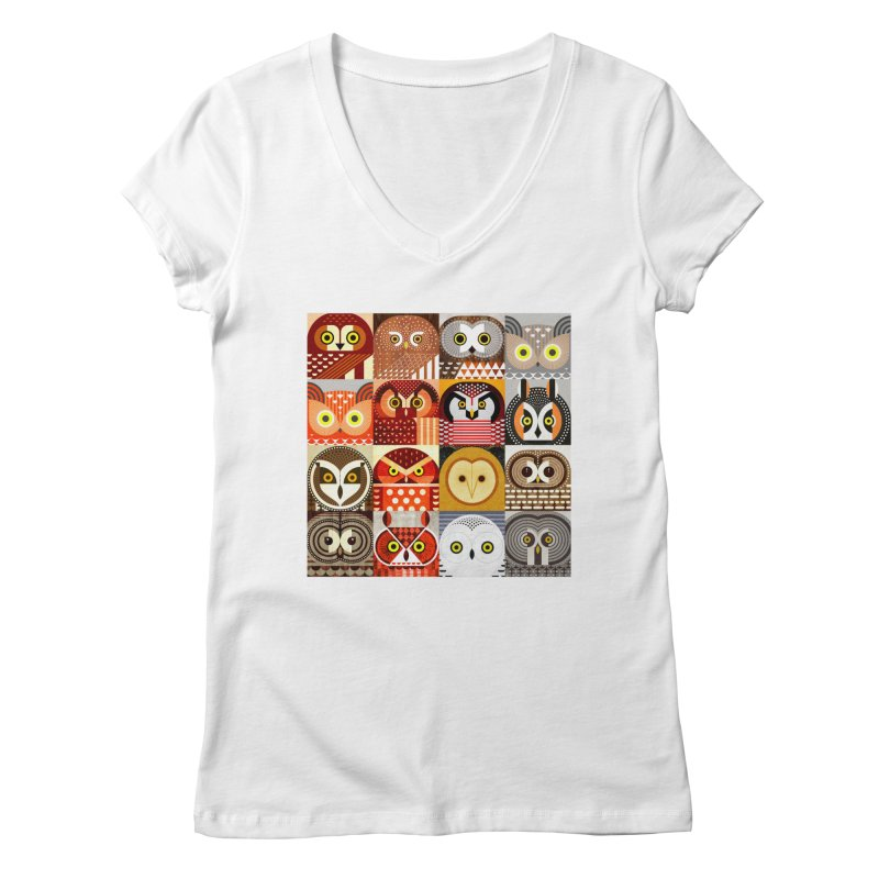 North American Owls Women's V-Neck by scottpartridge's Artist Shop
