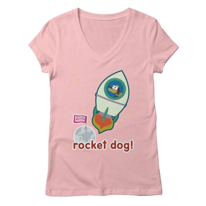 Rocket Dog! Women's V-Neck by Scratch Garden!