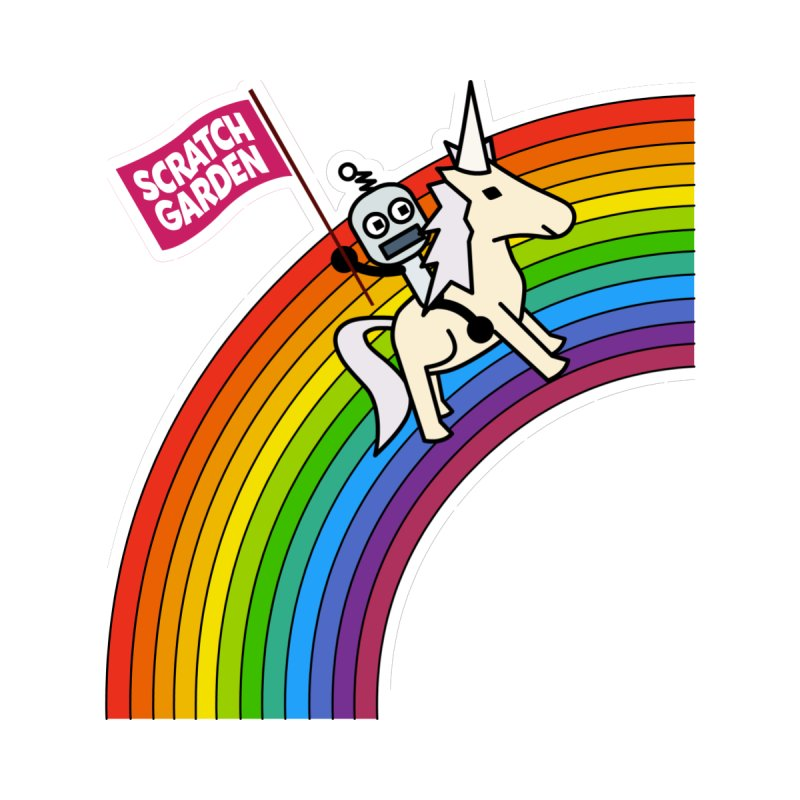 Rainbow Robot Unicorn! Kids Baby T-Shirt by Scratch Garden!