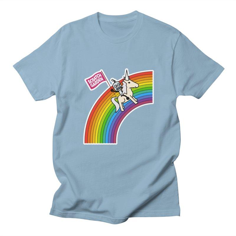 Rainbow Robot Unicorn! Men's T-Shirt by Scratch Garden!