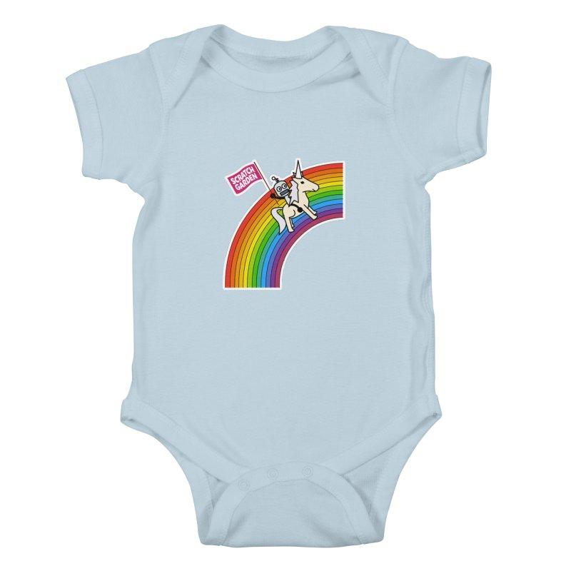Rainbow Robot Unicorn! Kids Baby Bodysuit by Scratch Garden!