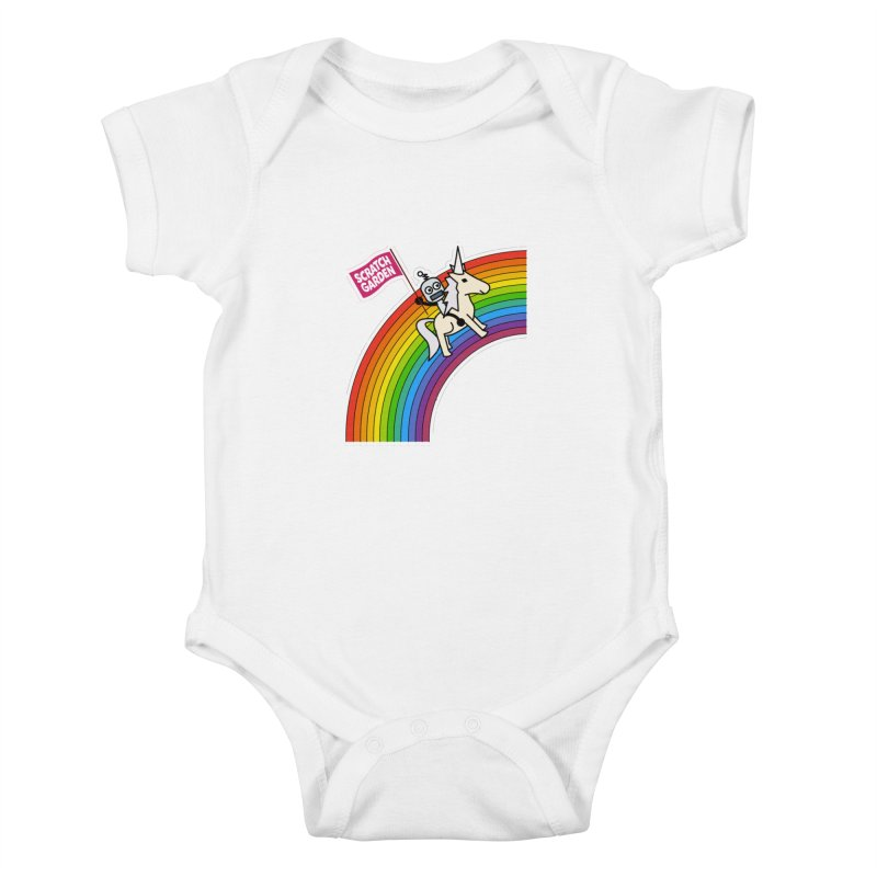 Rainbow Robot Unicorn! Kids Baby Bodysuit by Scratch Garden!