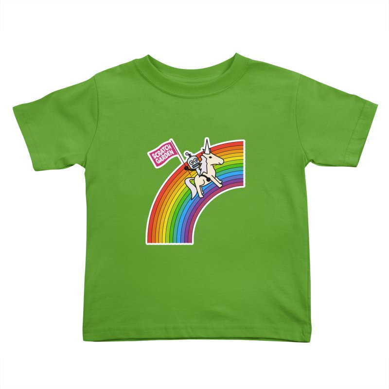 Rainbow Robot Unicorn! Kids Toddler T-Shirt by Scratch Garden!