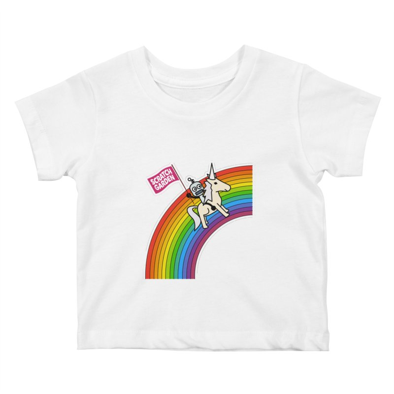 Rainbow Robot Unicorn! Kids Baby T-Shirt by Scratch Garden!