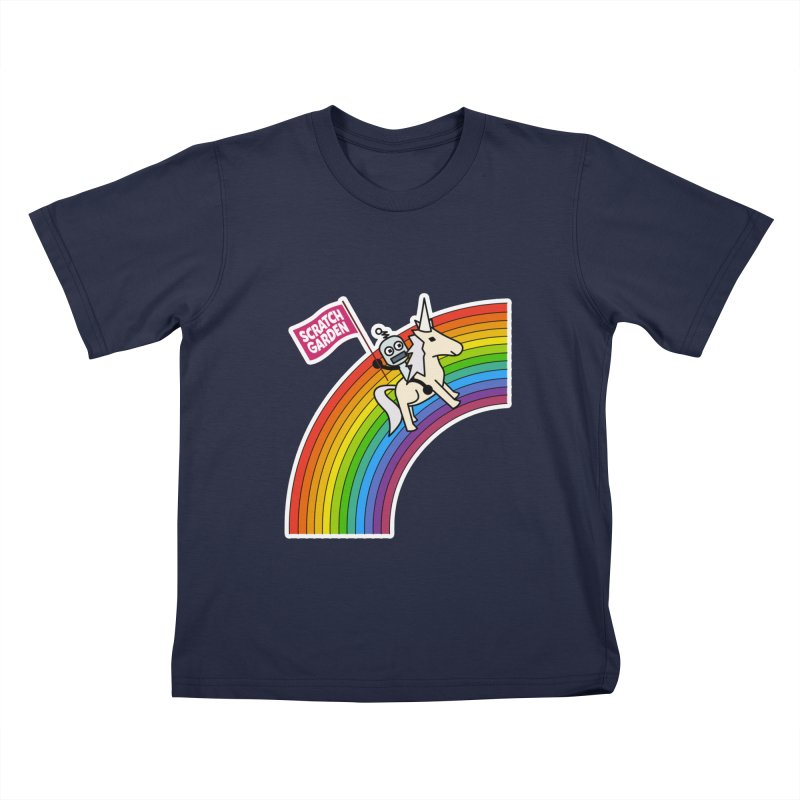 Rainbow Robot Unicorn! Kids T-Shirt by Scratch Garden!
