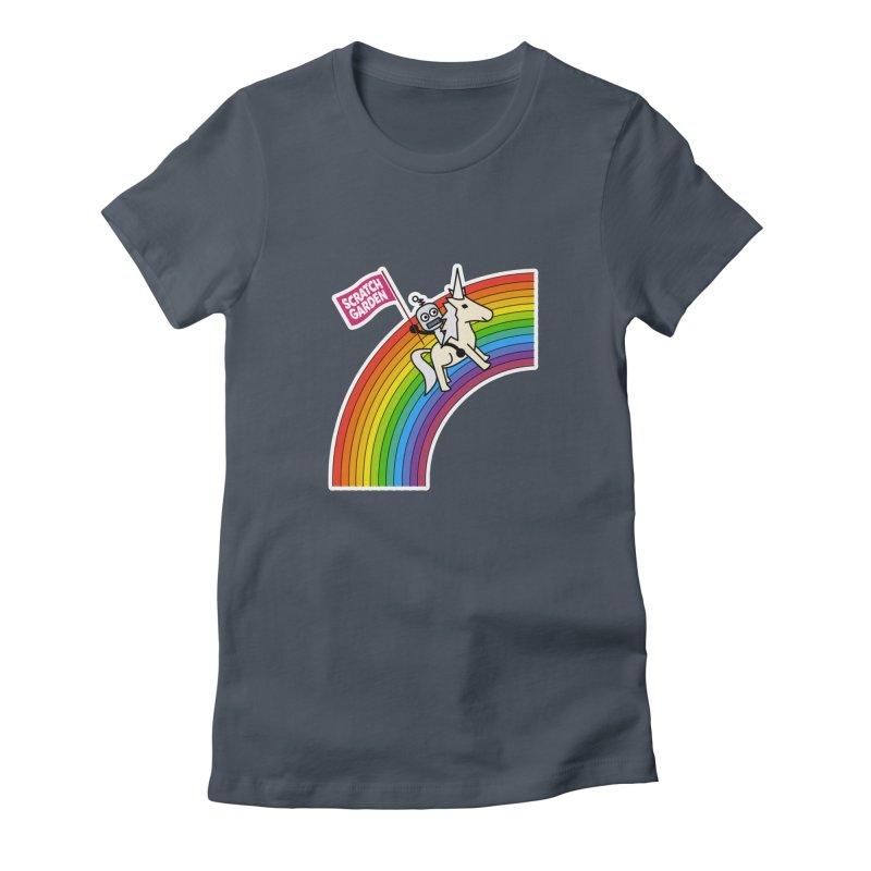 Rainbow Robot Unicorn! Women's T-Shirt by Scratch Garden!