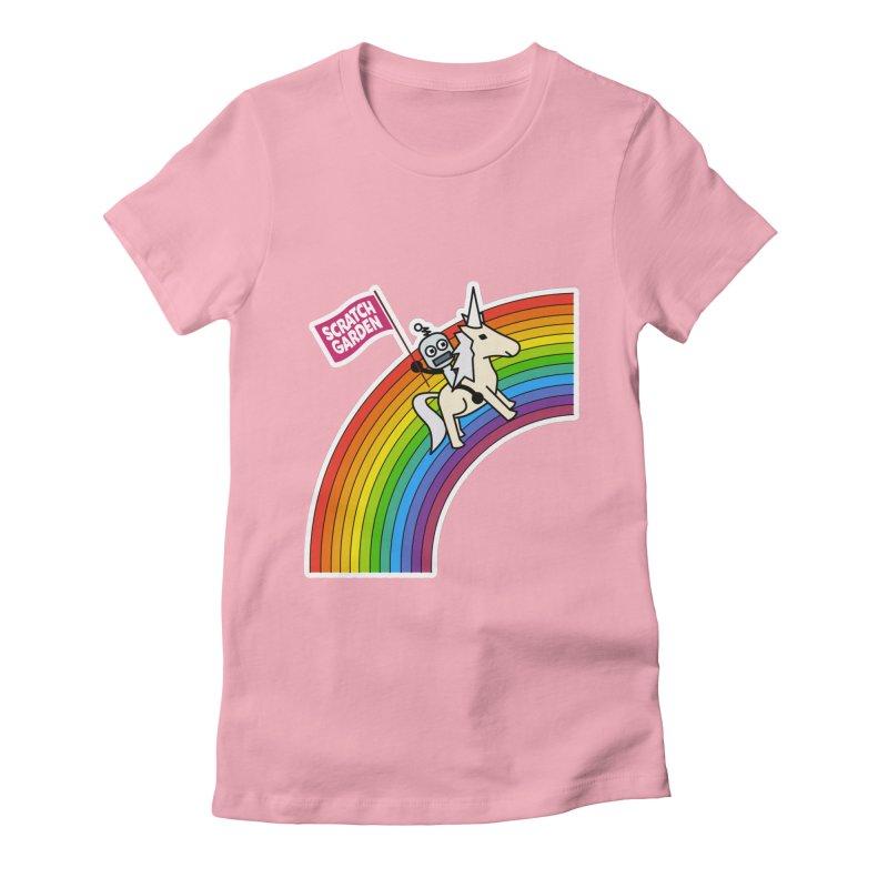 Rainbow Robot Unicorn! Women's Fitted T-Shirt by Scratch Garden!