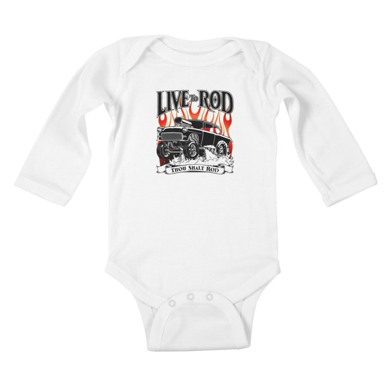 55 Chevy Gasser #2, Clean Black Kids Baby Longsleeve Bodysuit by screamnjimmy's Artist Shop