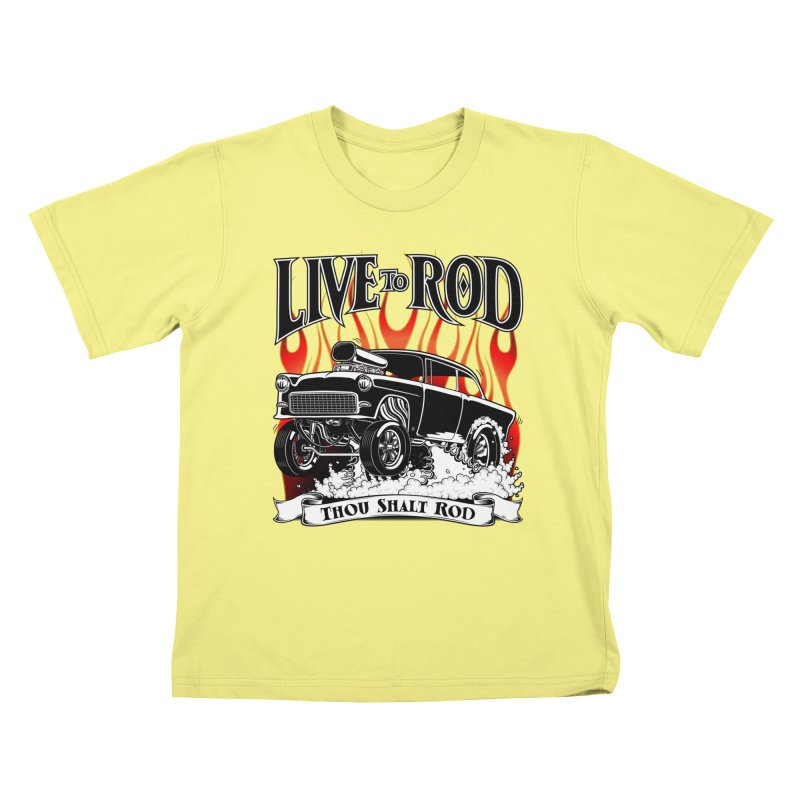 55 Chevy Gasser #2, Clean Black Kids T-shirt by screamnjimmy's Artist Shop