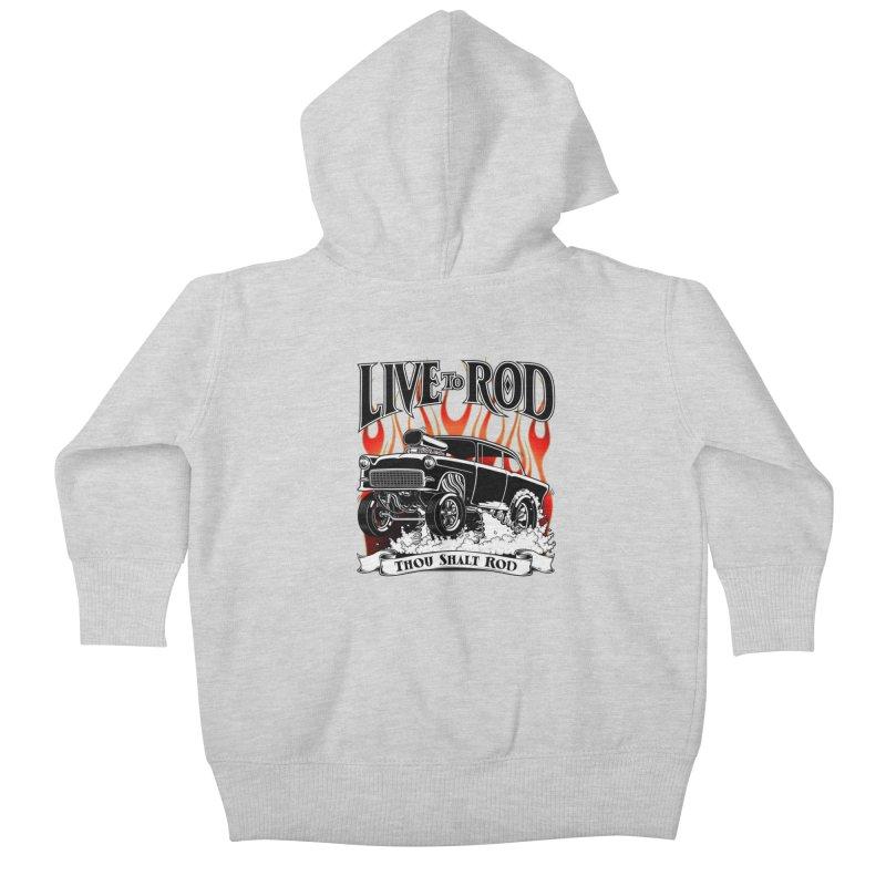 55 Chevy Gasser #2, Clean Black Kids Baby Zip-Up Hoody by screamnjimmy's Artist Shop