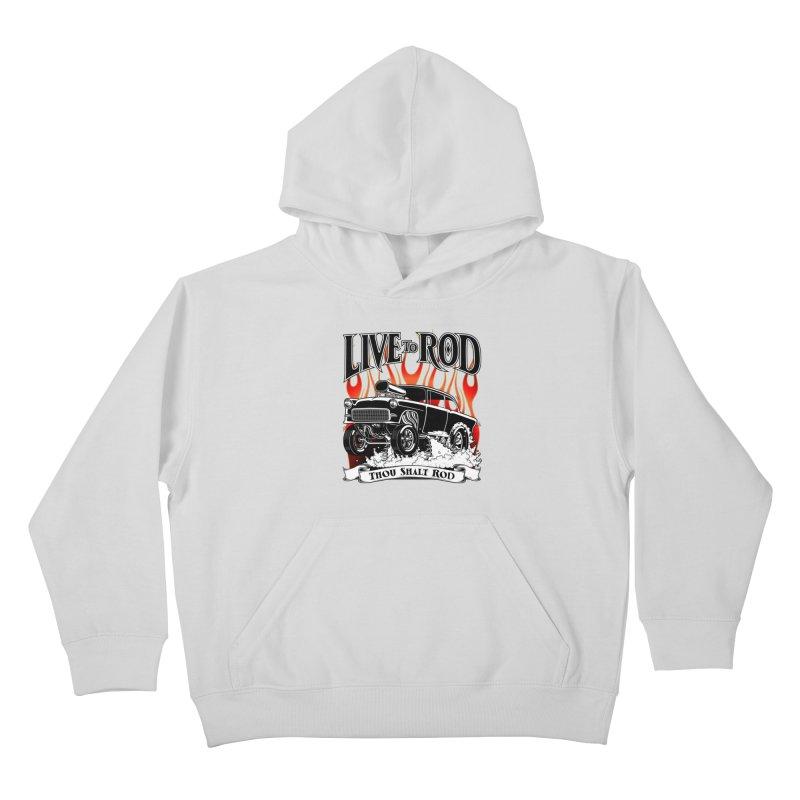 55 Chevy Gasser #2, Clean Black Kids Pullover Hoody by screamnjimmy's Artist Shop