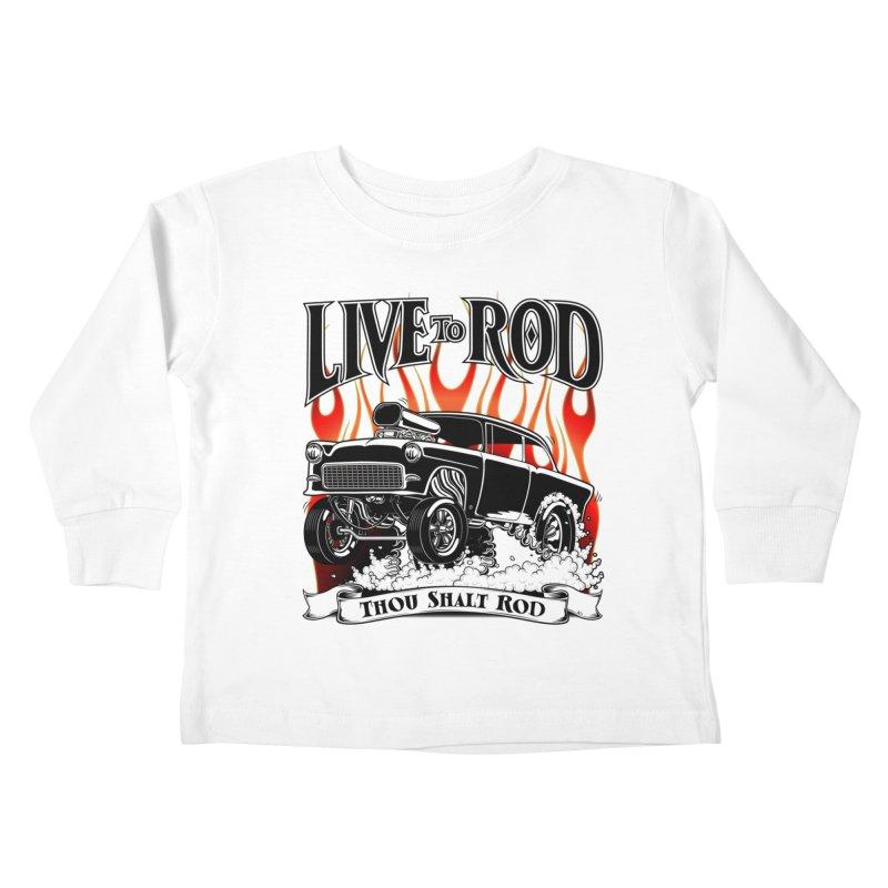 55 Chevy Gasser #2, Clean Black Kids Toddler Longsleeve T-Shirt by screamnjimmy's Artist Shop