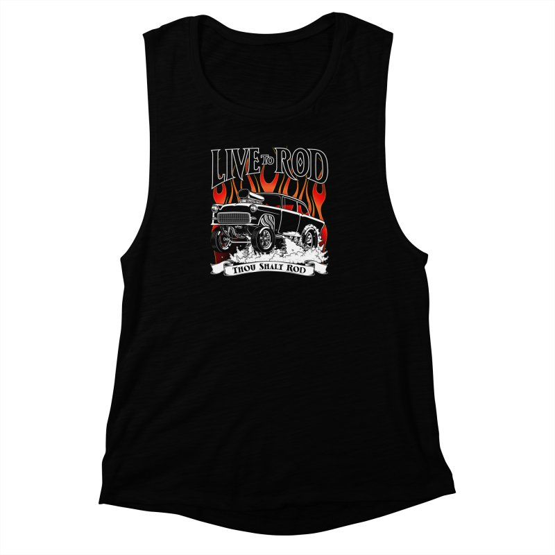 55 Chevy Gasser #2, Clean Black Women's Muscle Tank by screamnjimmy's Artist Shop