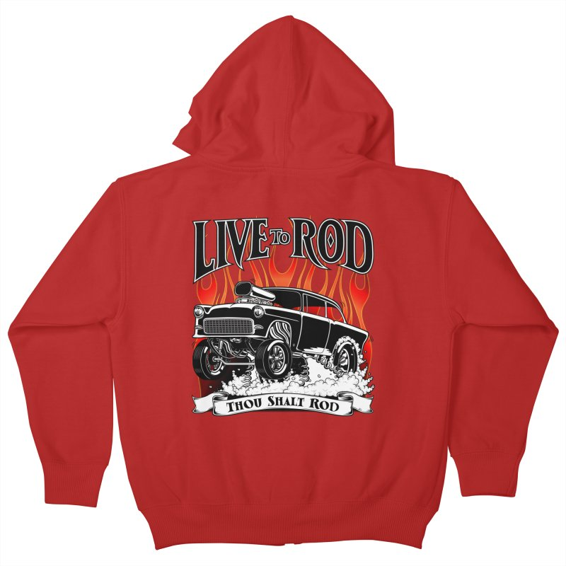 55 Chevy Gasser #2, Clean Black Kids Zip-Up Hoody by screamnjimmy's Artist Shop