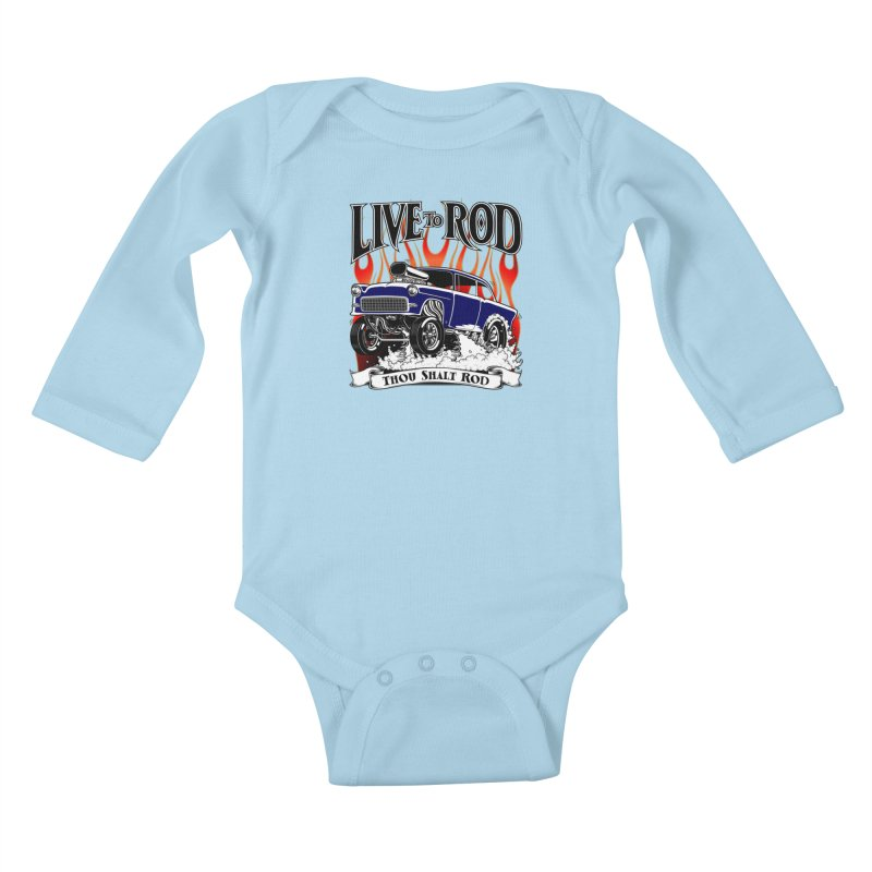 55 Chevy Gasser #2, Clean Blue Kids Baby Longsleeve Bodysuit by screamnjimmy's Artist Shop