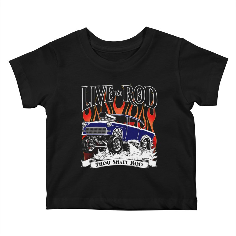 55 Chevy Gasser #2, Clean Blue Kids Baby T-Shirt by screamnjimmy's Artist Shop