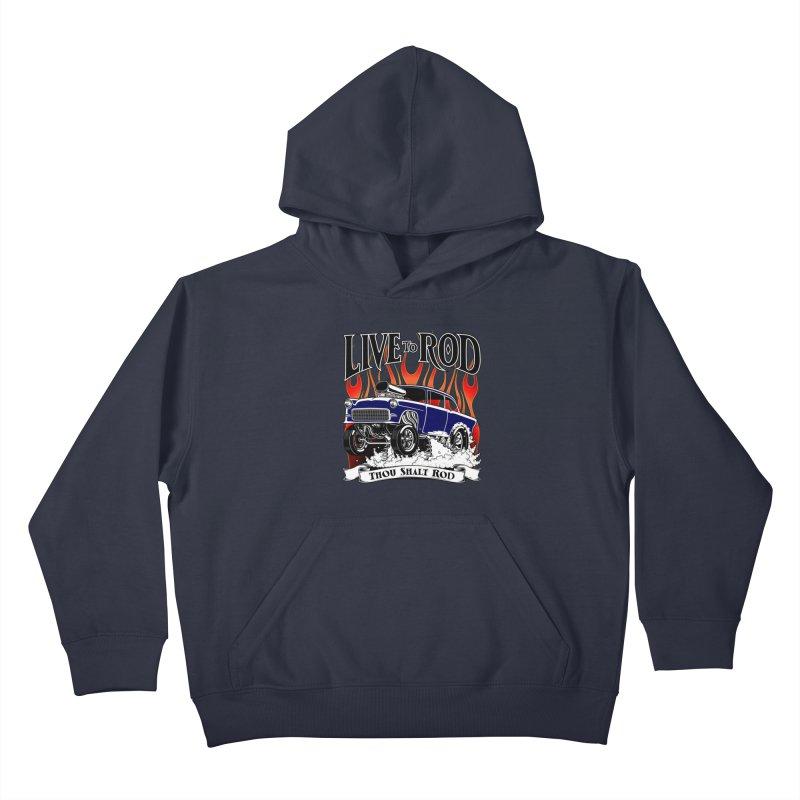 55 Chevy Gasser #2, Clean Blue Kids Pullover Hoody by screamnjimmy's Artist Shop