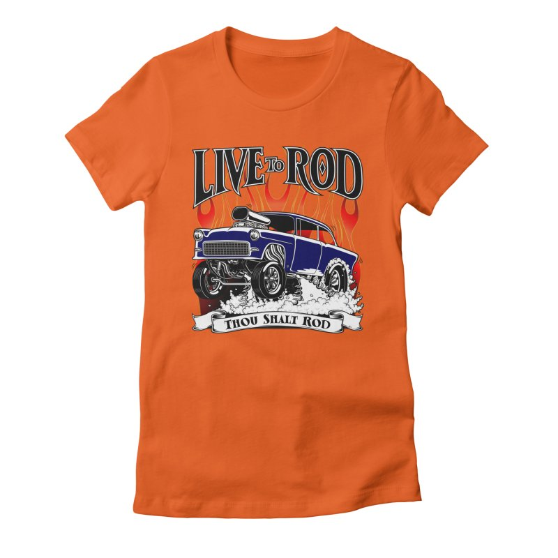 55 Chevy Gasser #2, Clean Blue Women's Fitted T-Shirt by screamnjimmy's Artist Shop