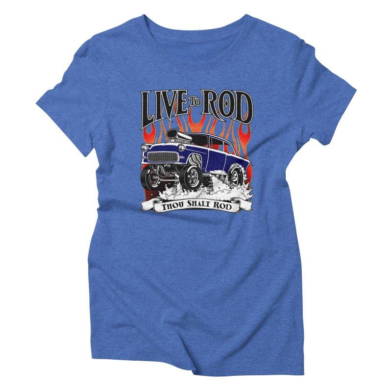 55 Chevy Gasser #2, Clean Blue Women's Triblend T-shirt by screamnjimmy's Artist Shop