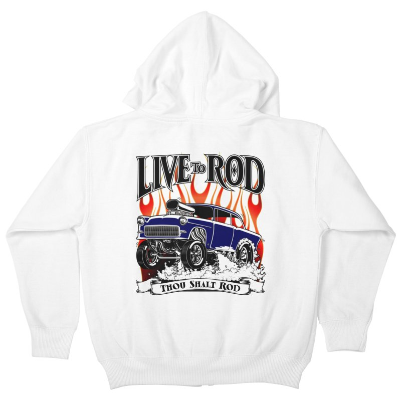 55 Chevy Gasser #2, Clean Blue Kids Zip-Up Hoody by screamnjimmy's Artist Shop