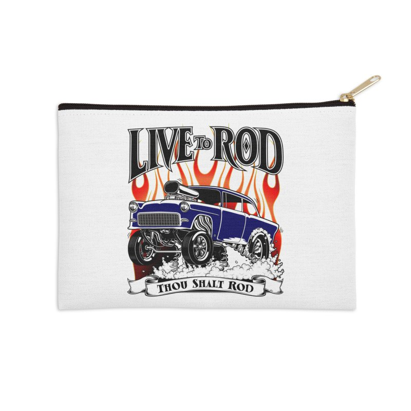 55 Chevy Gasser #2, Clean Blue Accessories Zip Pouch by screamnjimmy's Artist Shop