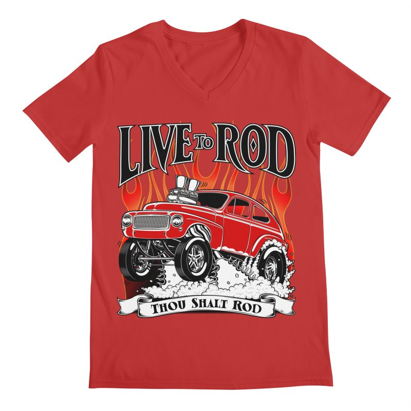 62 Volvo Gasser PV544 – clean red Men's Regular V-Neck by screamnjimmy's Artist Shop