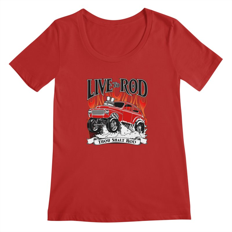 62 Volvo Gasser PV544 – clean red Women's Scoopneck by screamnjimmy's Artist Shop