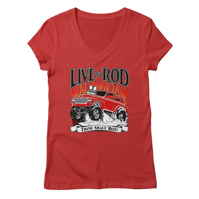 62 Volvo Gasser PV544 – clean red Women's V-Neck by screamnjimmy's Artist Shop