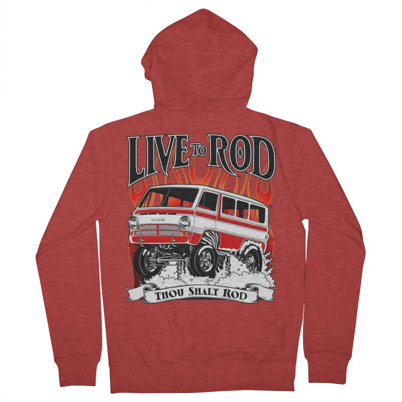 69' Dodge Gasser van, clean red Women's Zip-Up Hoody by screamnjimmy's Artist Shop