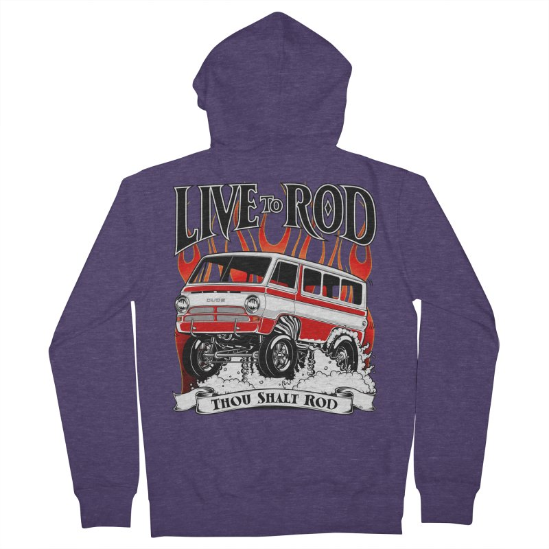 69' Dodge Gasser van, clean red Men's Zip-Up Hoody by screamnjimmy's Artist Shop