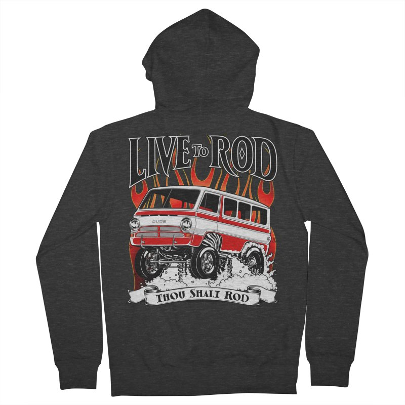 69' Dodge Gasser van, clean red Men's Zip-Up Hoody by screamnjimmy's Artist Shop