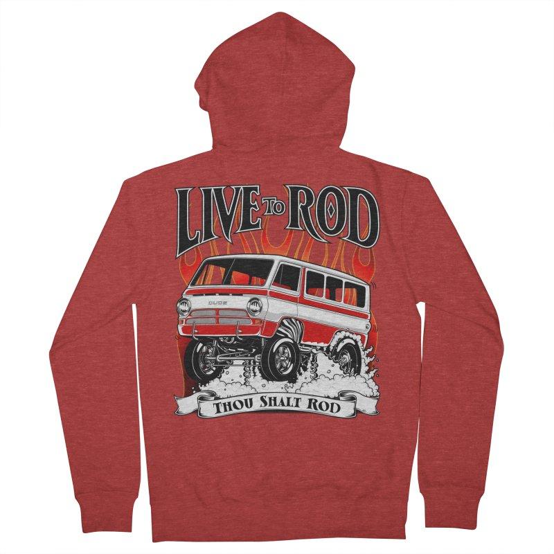 69' Dodge Gasser van, clean red Men's French Terry Zip-Up Hoody by screamnjimmy's Artist Shop