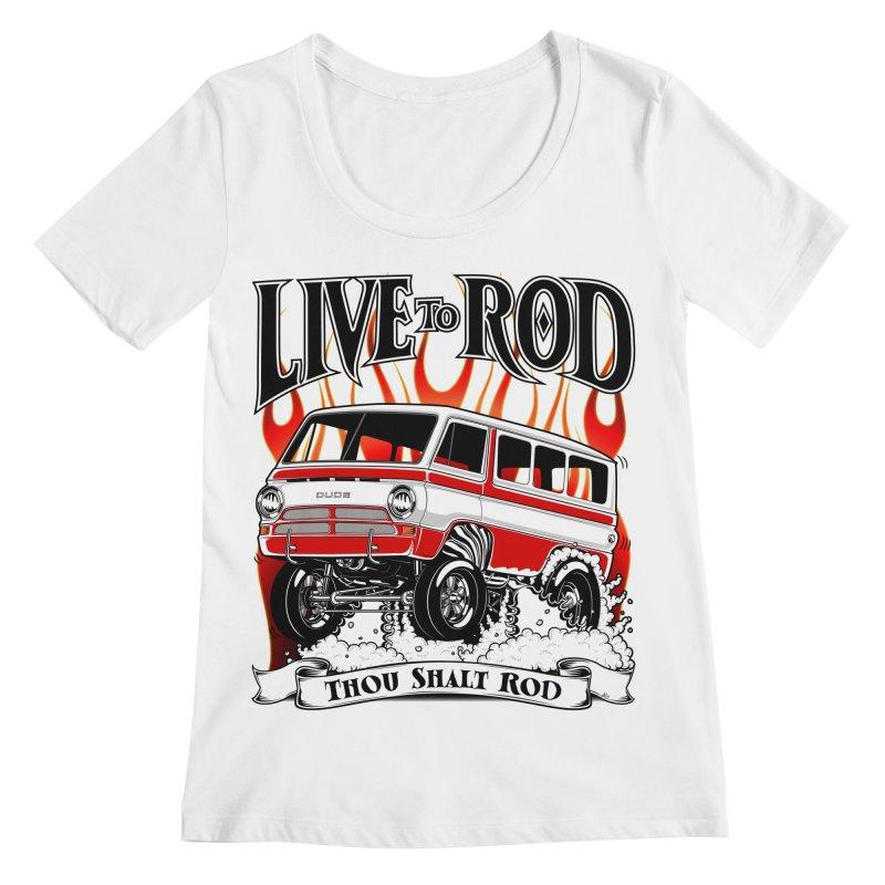 69' Dodge Gasser van, clean red Women's Regular Scoop Neck by screamnjimmy's Artist Shop