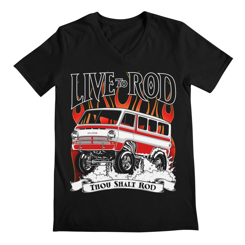 69' Dodge Gasser van, clean red Men's Regular V-Neck by screamnjimmy's Artist Shop