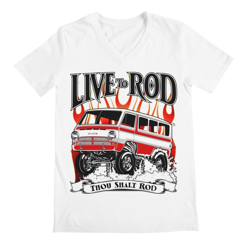69' Dodge Gasser van, clean red Men's V-Neck by screamnjimmy's Artist Shop